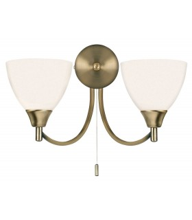 2 Light Indoor Wall Light Antique Brass with Opal Glass
