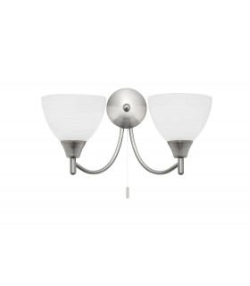 2 Light Indoor Wall Light Satin Chrome with Matt Opal Glass, E14