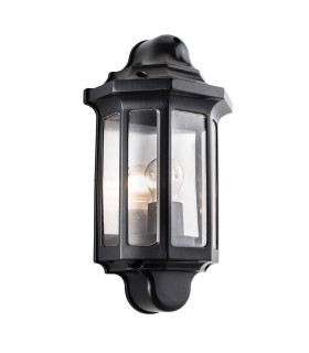 Outdoor Wall Lantern Satin Black Paint, Clear Polycarbonate IP44