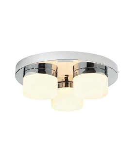 3 Light Semi Flush Bathroom Ceiling Light Chrome, Opal Glass IP44
