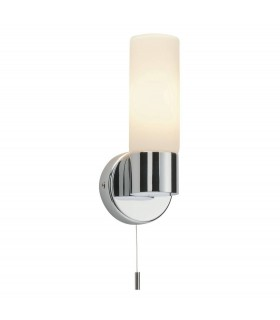 1 Light Bathroom Wall Light Chrome IP44 with Opal Glass