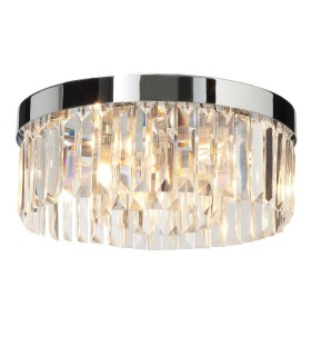 5 Light Bathroom Flush Ceiling Light Chrome, Clear Crystal (K9) Glass Detail IP44