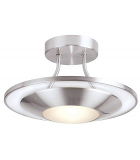 1 Light Flush Ceiling Light Frosted Glass, Satin Chrome with Clear