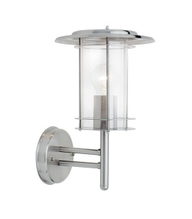 1 Light Outdoor Wall Lantern Polished Stainless Steel, Clear Polycarbonate IP44