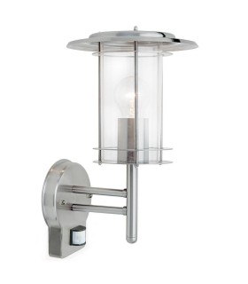 PIR 1 Light Outdoor Wall Lantern Polished Stainless Steel, Clear Polycarbonate IP44