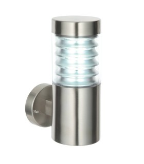 1 Light Outdoor Wall Light Clear Polycarbonate, Marine Grade Brushed Stainless Steel IP44, E27