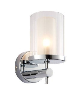 1 Light Bathroom Wall Light Chrome IP44 with Clear Rippled Glass