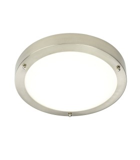 LED Bathroom Flush Ceiling Light Frosted Glass, Satin Nickel IP44
