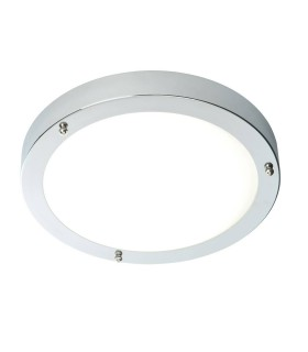 LED Bathroom Flush Ceiling Light Chrome, Frosted Glass IP44