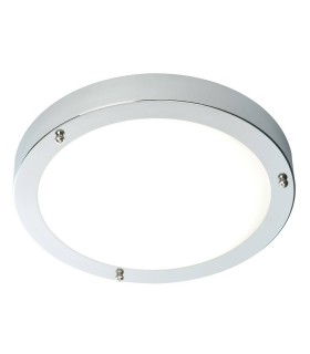 Bathroom Flush Ceiling Light Chrome, Frosted Glass IP44, E27