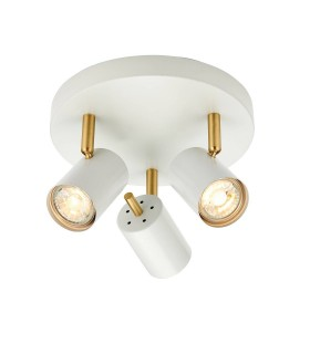 3 Light Spotlight Matt White Paint, Satin Brushed Gold, GU10