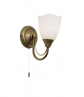 1 Light Wall Light Antique Brass with Opal Glass Shade, E14
