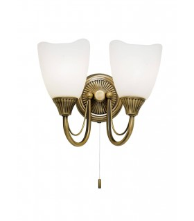 2 Light Indoor Wall Light Antique Brass with Opal Glass, E14