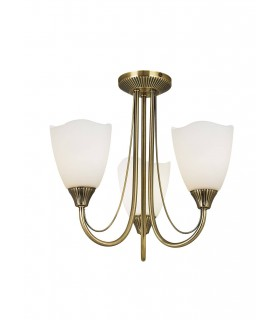 3 Light Semi Flush Multi Arm Ceiling Light Antique Brass, Opal Glass, E14