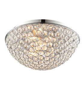 3 Light Bathroom Flush Ceiling Light Chrome, Clear Crystal Detail IP44