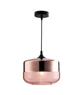 1 Light Ceiling Pendant Cognac Tinted, Copper Plated Glass