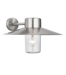 1 Light Outdoor Dome Wall Light Clear Glass, Polished Stainless Steel IP44, E27
