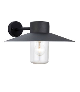 1 Light Outdoor Fisherman Dome Wall Light Clear Glass, Black Paint IP44, E27