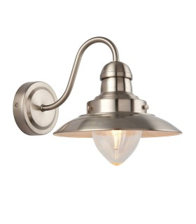 1 Light Indoor Wall Light Clear Glass, Satin Nickel, E14