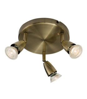 Adjustable 3 Light Spotlight Antique Brass, GU10