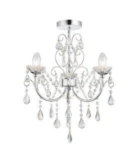 3 Light Semi Flush Bathroom Multi Arm Ceiling Light Chrome, Clear Crystal (K9) Glass Detail IP44