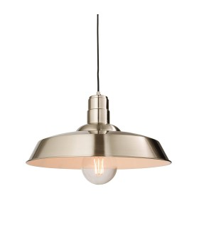 1 Light Dome Ceiling Pendant Gloss Nickel Plate