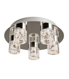 5 Light Bathroom Flush Ceiling Light Chrome, Clear Glass with Bubbles IP44