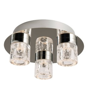 3 Light Bathroom Flush Ceiling Light Chrome, Clear Glass with Bubbles IP44