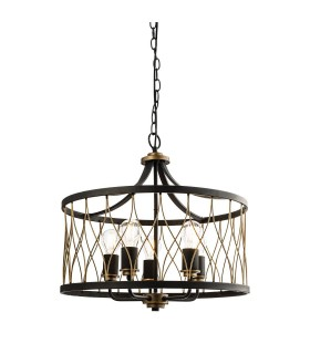 5 Light Cylindrical Ceiling Pendant Matt Black, Rustic Bronze Effect
