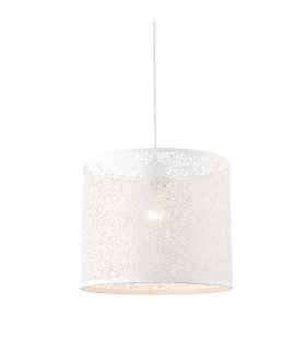 Floral Leaves Round Ceiling Pendant Light Matt Ivory Paint, E27