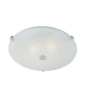 2 Light Flush Ceiling Light Frosted White, Clear Patterned Glass with Chrome, E14