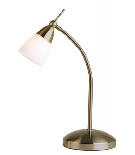 Table Lamp Antique Brass, White Glass
