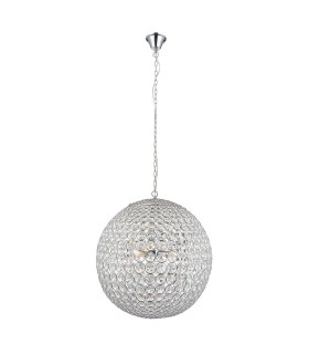 4 Light Spherical Ceiling Pendant Chrome, Clear Crystal (K9) Glass Detail, E14