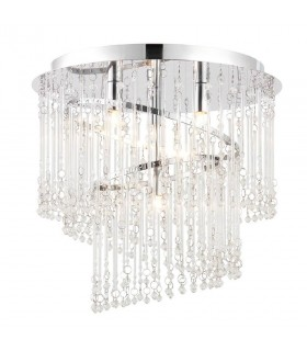 4 Light Flush Ceiling Light Chrome, Clear Glass