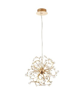6 Light Ceiling Pendant Gold, Clear Crystal Beads