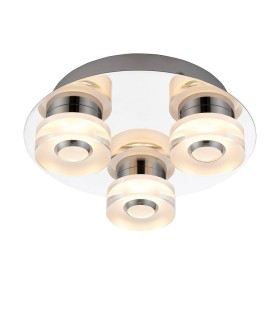 3 Light Bathroom Flush Ceiling Light Chrome, Frosted Acrylic IP44