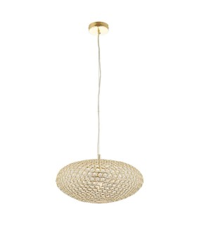 1 Light Ceiling Pendant Crystal, Brass