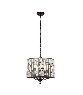 5 Light Ceiling Pendant Dark Bronze, Clear Crystal