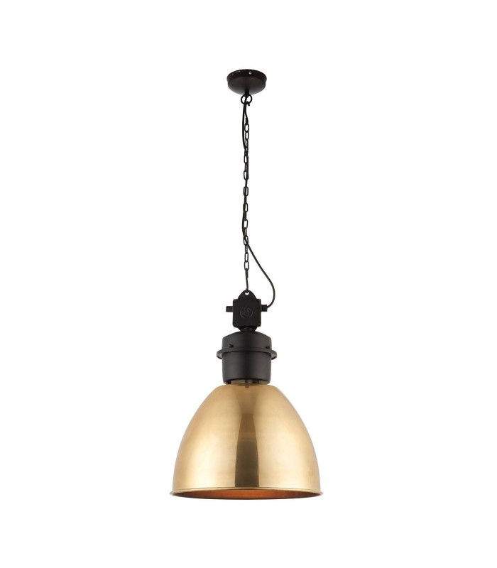 1 Light Dome Ceiling Pendant Antique Brass, Matt Black, E27