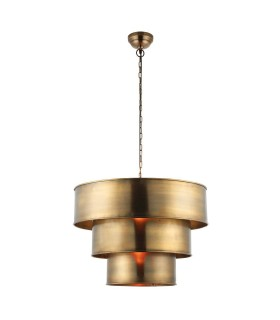 1 Light Cylindrical Ceiling Pendant Antique Brass, E27