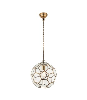 1 Light Spherical Ceiling Pendant Antique Brass, Glass, E27