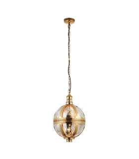 Spherical Ceiling Pendant Light Solid Brass, Mercury Glass, E27