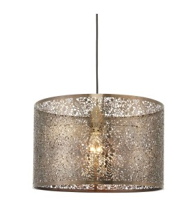 Floral Leaves Cylindrical Ceiling Pendant Light Antique Brass, E27