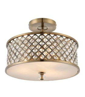 3 Light Flush Ceiling Light Antique Brass, Crystal
