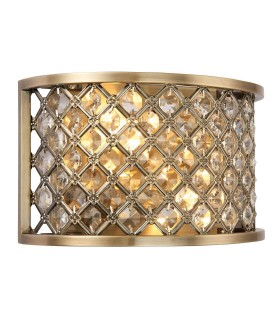 2 Light Indoor Wall Light Antique Brass with Crystal, E14