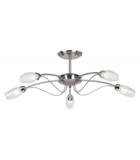 5 Light Semi Flush Multi Arm Ceiling Light Satin Chrome, Clear Glass with Acid Inner, G9