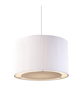 Cylindrical Ceiling Pendant Light Chrome, White Tc Fabric, E27