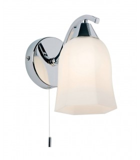 1 Light Wall Light Chrome with Opal Glass Shade, E14