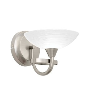 1 Light Wall Light Satin Chrome with White Painted Glass Shade
