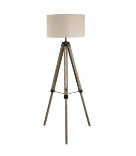 1 Light Floor Lamp Black, Linen Shade, E27